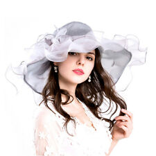 78608111d3389 Gray Women Organza Church Derby Hat Ruffles Wide Brim Summer Bridal Cap