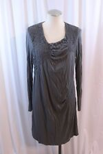 Mama Licious Gray Long Sleeve Ruche Side Casual Knit Dress Size L Maternity