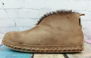 LL BEAN Men's Brown Suede Shearling Lined Wicked Good Bootie Slippers Size 10 M