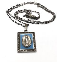 "Vintage Sterling Silver Necklace 925 Chain 17"" Pendant Mary Christian Deco Cameo"