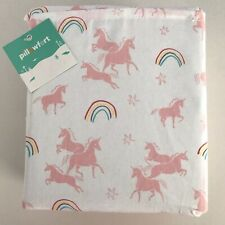 Pillowfort Pink UNICORNS Rainbows Girls TWIN Sheet Set - Flat Fitted Pillowcase