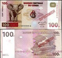 CONGO 100 FRANCS 1997 (1998) P 90 RED SPECIMEN UNC