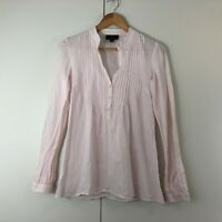 Witchery Womens Top Size 6 Pastel Pink Boho Cotton Shirt Blouse Casual