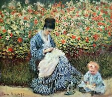Madame Monet and Child by Claude Monet Fine Art Print on CANVAS Home Decor 8x10