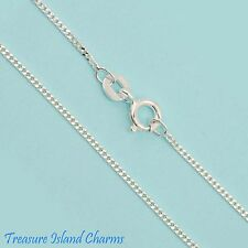 """18"""" FINE CURB LINK .925 Solid Sterling Silver NECK CHAIN NECKLACE 1mm"""