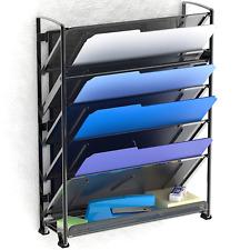 Wire File Holder Mesh Desk Organizer Shelf Trays Black Metal Set Sorter