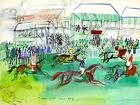 FRAMED CANVAS Art print giclee LA COURSE À EPSOM Raoul Dufy horse racing