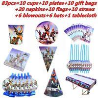 83Pcs Fortnite Theme Birthday Party Supplies Disposable Tableware Set Kids Boy