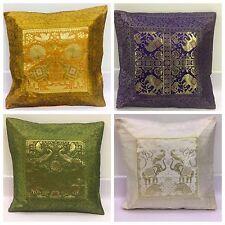 Indian Mandala Sari Ethnic Vintage Banarasi Cushion Covers Silk Brocade Scatter