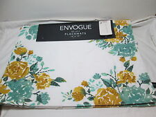 """New Envogue FLORAL Set of 4 Placemats 14""""x19"""" ~ Teal  Green and Gold Flowers NEW"""