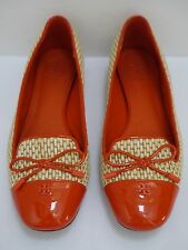 TORY BURCH Catherine orange patent with raffia smoking slippers flats shoes 6.5