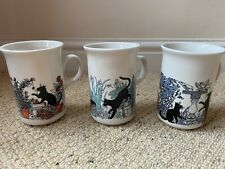 More details for set of 3 vintage churchill england, black cats at play mugs cups ceramic vgc