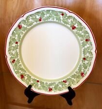 "VILLEROY & BOCH Germany JOY NOEL Pattern 10 1/2"" DINNER PLATE Holly / Berries"