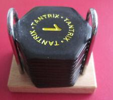 Tantrix 10 Brain Teaser Tiles Game Black Tiles Metal/Wood Holder Pre-Owned