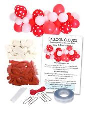 RED & White Football Party Balloon Cloud Garland Making Kit-No Helium Required