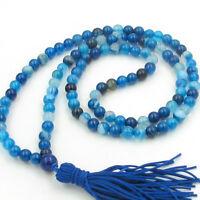 Blue Agate Gemstone Tibet Buddhist 108 Prayer Beads Mala Necklace---6mm