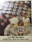 Vintage 1952 Pabst Blue Ribbon Beer Magazine Ad ~ Frame But No Glass