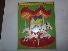 Vintage Fuzzy Wuzzy Preschool Merry Go Round Frame Tray Puzzle by Whitman 1968