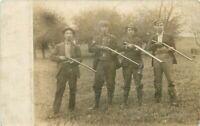 c1910 Four Hunters Double Barrel Shotgun Eliotsville Pennsylvania RPPC Postcard