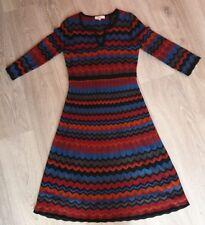 EAST Clothing AW17 100% merino wool knit Zig Zag Stripe dress Size 10