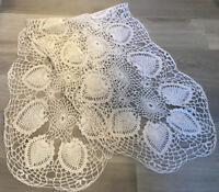 Vintage Table Runner Or Dresser Scarf, Hand Crocheted, Pineapple Design, White