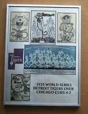 Detroit Tigers 1935 World Series Champs with Paws metal plate w Silver Frame!