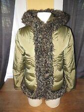 Aquascutum London Women's Green Down Filled Faux Fur Winter Coat Jacket Small