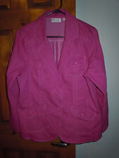 Denim & Co. women's long sleeve 2-button 4-pocket pink denim jacket size M