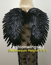 FashionWings Adults Black Duo Use Costume Feather Angel Wings Point Up or Down