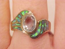 Beautiful SWIRLED Blue Topaz Blue Opal Ladies Ring 7.5 $285 Sterling Silver 925