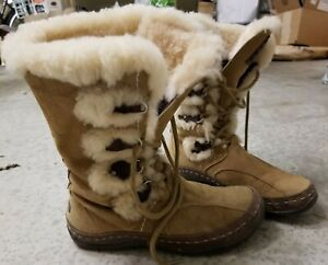 North Face Suede fur waterproof snow Boots tan beige khaki Primaloft snowflake