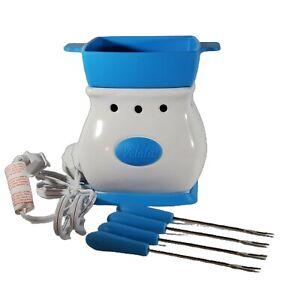 Scentsy Velata Fun Fondue Blue Razz Curve Warmer Open Box Silicone Pot Turquoise