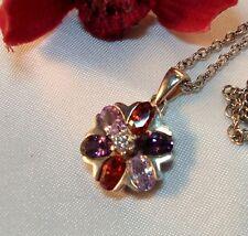 Hübscher moderner Anhänger mit Steine und Halskette 925 Silber / bi 463