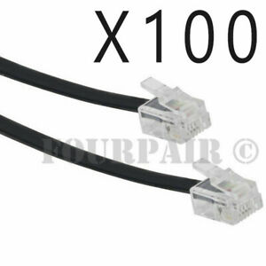 100 Pack Lot - 7ft Telephone Line Cord Cable 6P6C RJ12 RJ11 DSL Fax Phone Black