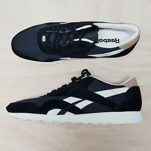 REEBOK Mens Size EUR 45.5 or UK 11 / US 12 Black Classic Nylon Sneakers Shoes