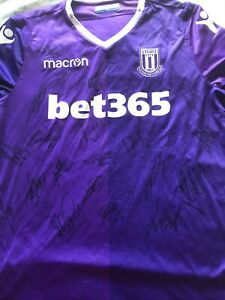 """SUPERB STOKE CITY AWAY SHIRT SIGNED BY 21 - """"PROOF"""""""