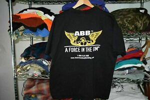 ABB Force in the Gym Black t shirt Men's XL weightlifting gold's golds gym