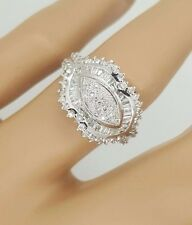 NEW 18K WHITE GOLD ROUND & BAGUETTE CUT DIAMOND LADIES COCKTAIL DESIGNER RING