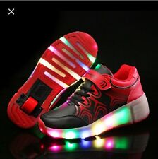 New Wheelie Trainers With LED Lights In Black UK Seller Retractable Wheels