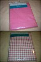 Vinyl Tablecloth Kitchen Party BBQ Choice Solid Pink or Red/White 52 x 70 C24