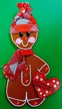 Welcome Gingerbread Boy Sign Winter Wall Art Door Hanger Hanging Plaque Decor