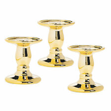 Gold Reflective Candle Holders - Home Decor - 3 Pieces