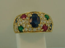 14K Yellow Gold Over Diamond Sapphire Emerald Ruby Engagement Ring 3.50Ct