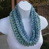 SUMMER COWL SCARF Light Blue Gray Grey Small Short Handmade Crochet Knit Loop
