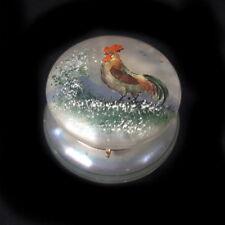 alte stark irisierende Glas Deckeldose - Handbemalung Motiv Gockel
