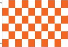 Orange and White Checkered Flag Advertising Banner Store Sign Party Pennant 3x5