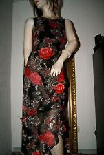 Langes KLEID Sommerkleid schwarz mit roten Rosen Volants Urlaub Party nw 42