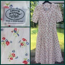 VINTAGE LAURA ASHLEY 1980s Dress 8 10 SUMMER Floral Puff Sleeves GREAT BRITAIN