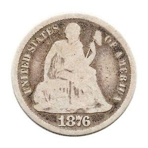 KM# 92 - One Dime - Seated Liberty - No Stars -  USA 1876 CC (Fair)