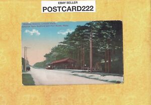 MA Fall River 1908-29 antique postcard LINCOLN PARK WAITING STATION Trolley